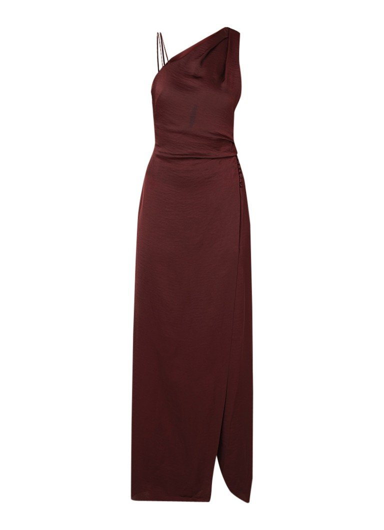 Reiss Aerin one shoulder maxi-jurk van satijn bordeauxrood