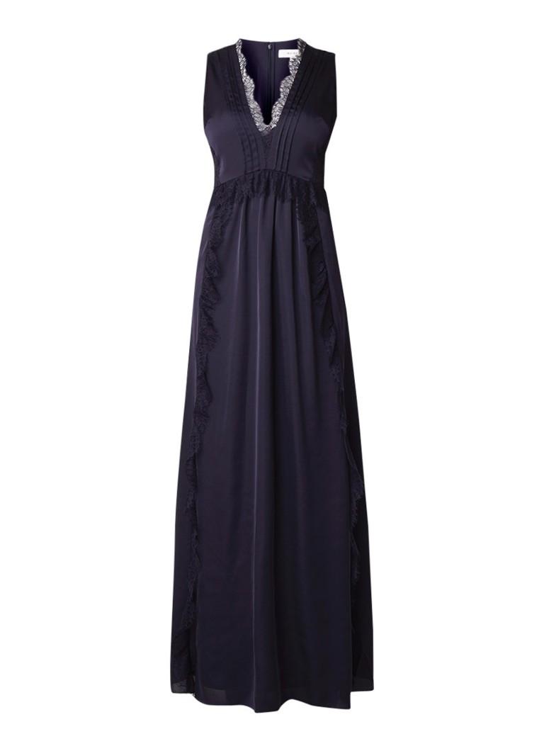 Reiss Odette maxi-jurk van satijn met details van kant donkerblauw
