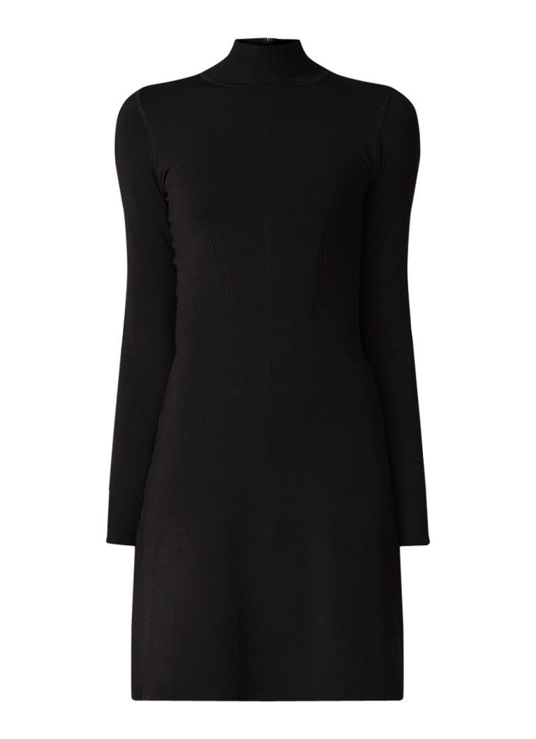 Reiss Sandie gebreide mini-jurk met col zwart