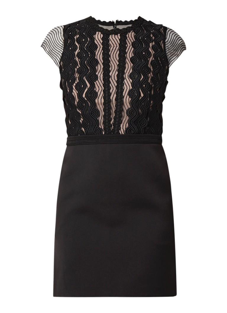 Reiss Veriana mini-jurk met inzet van kant zwart