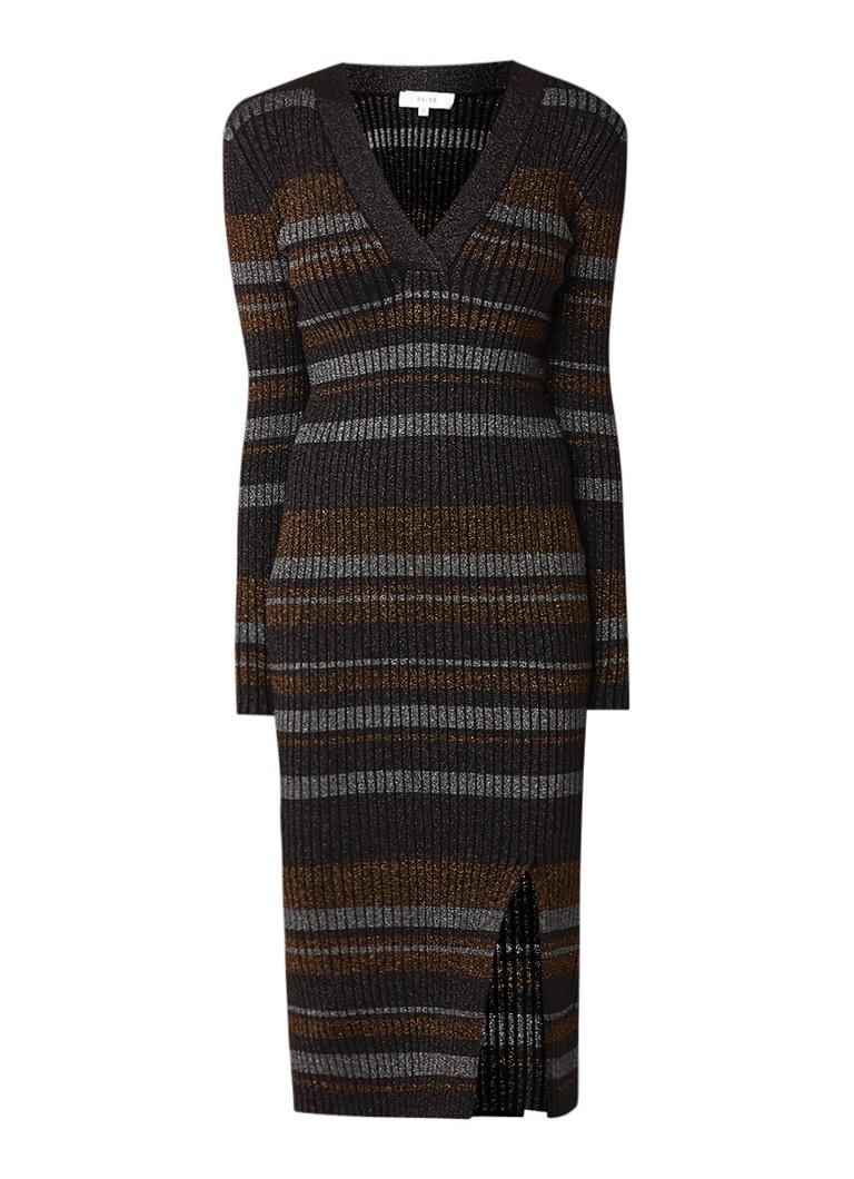 Reiss Sassy fijngebreide jurk met streepdessin en lurex zwart