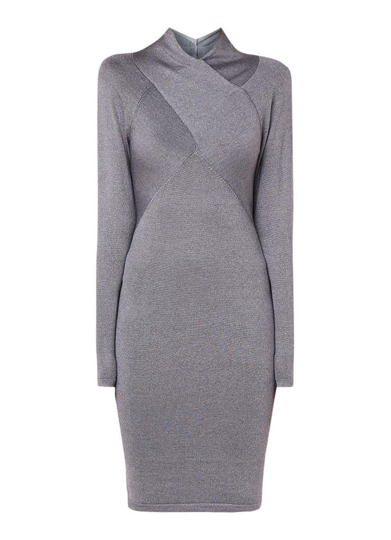 Reiss Alethia fijngebreide midi-jurk met lurex zilver