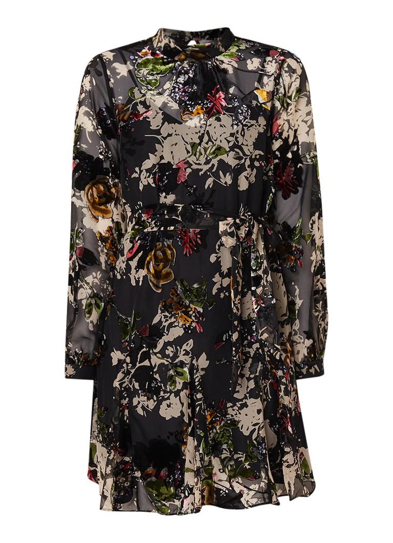 Reiss Jasia blousejurk met burn-out dessin en strikceintuur multicolor