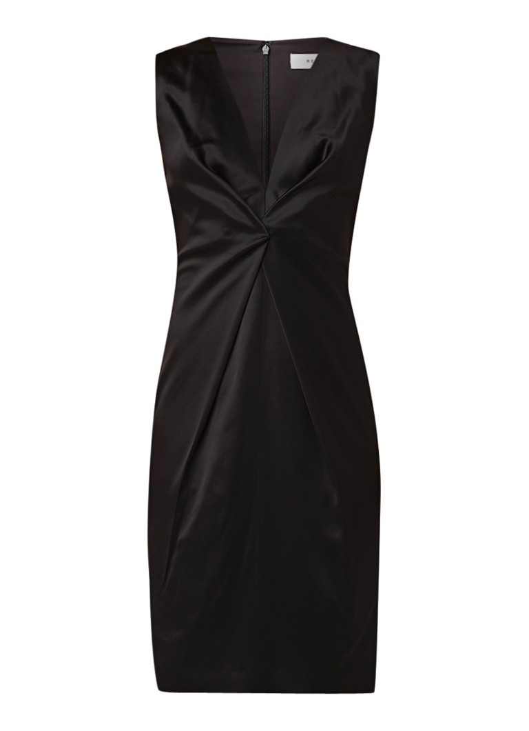 Reiss Mosaic jurk van satijn met diepe V-hals zwart