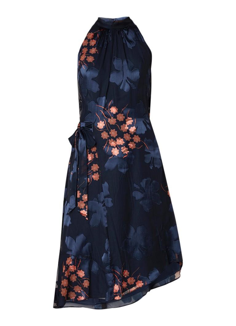 Reiss Lake midi-jurk met burn-out bloemendessin donkerblauw