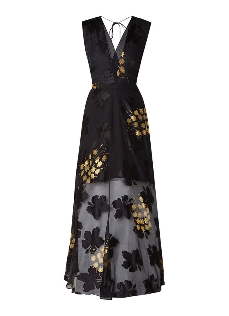 Reiss Kaira maxi-jurk met burn-out bloemendessin zwart