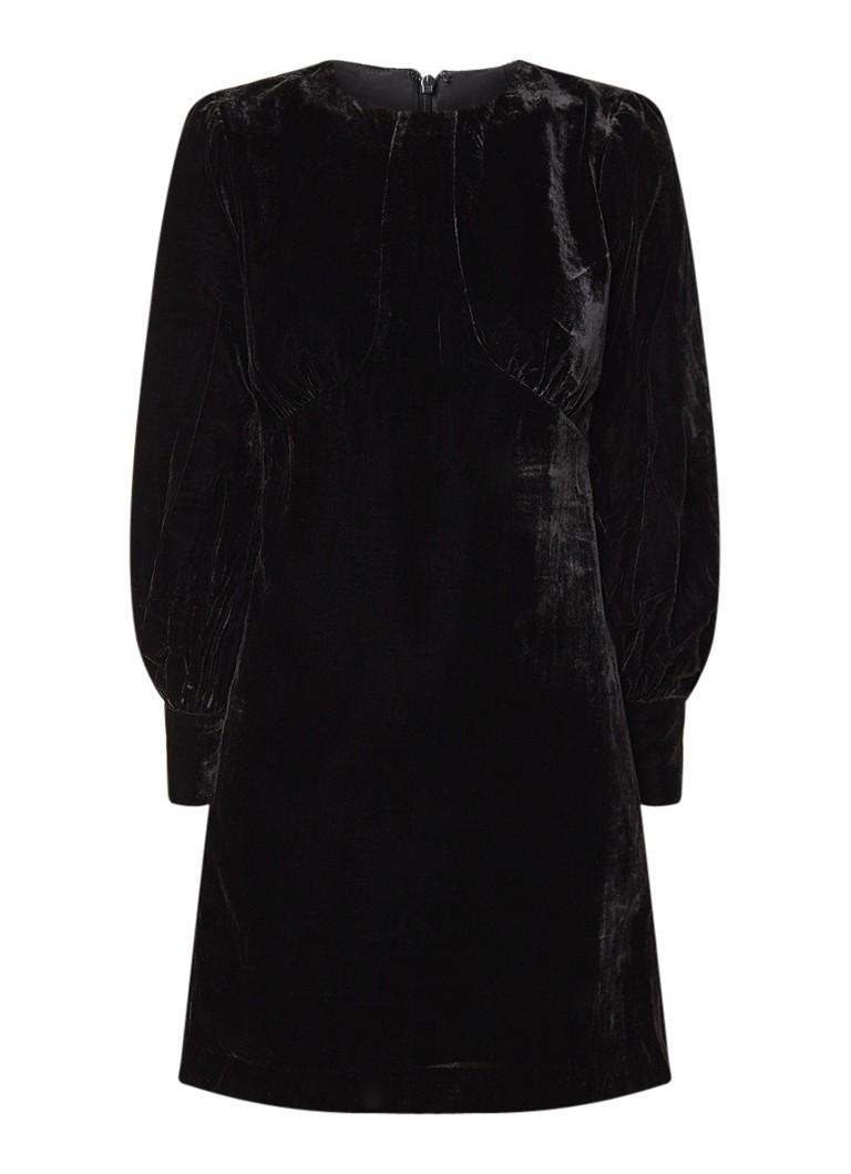 Reiss Bianca mini-jurk van fluweel zwart
