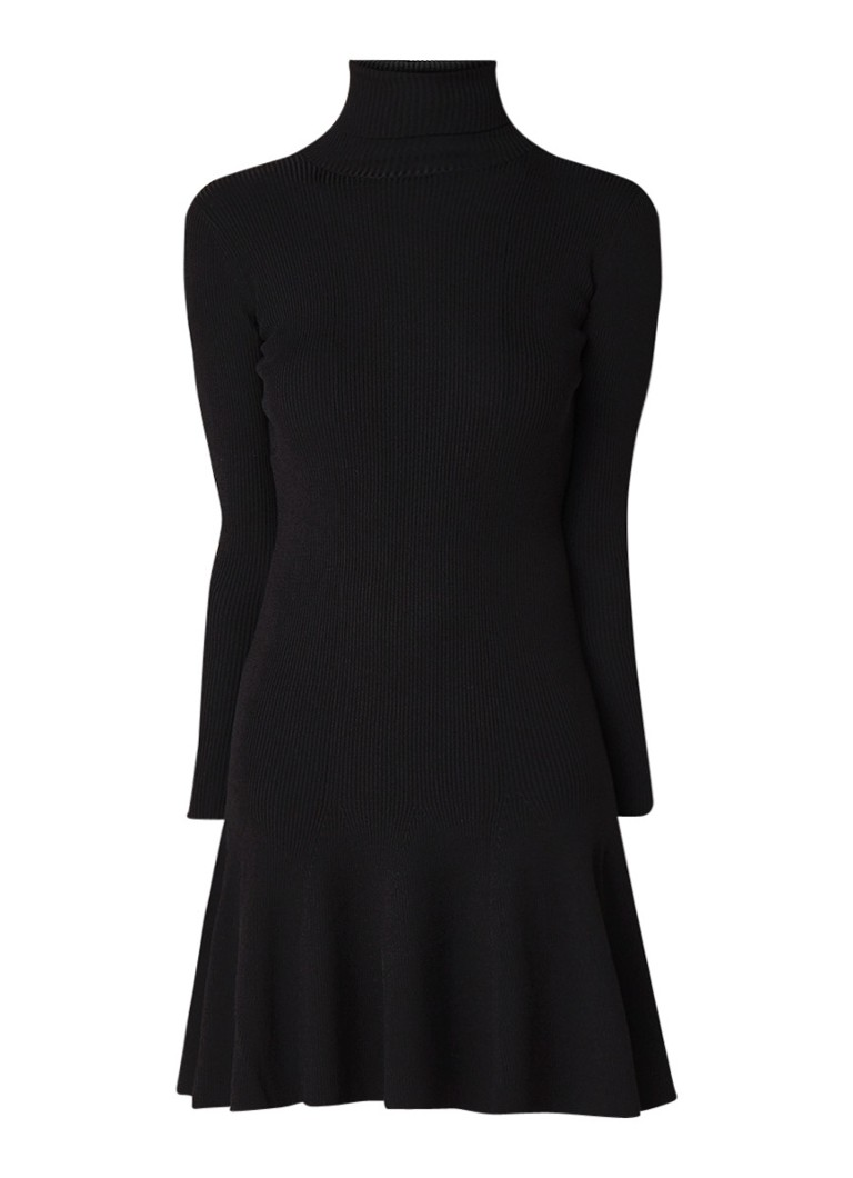 Reiss Mimi ribgebreide jurk met col en volant zwart