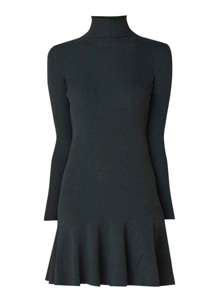 Reiss Mimi trui-jurk met col en volant donkergroen