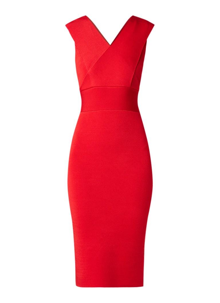 Reiss Salvia bodycon jurk met gekruiste kapmouw rood