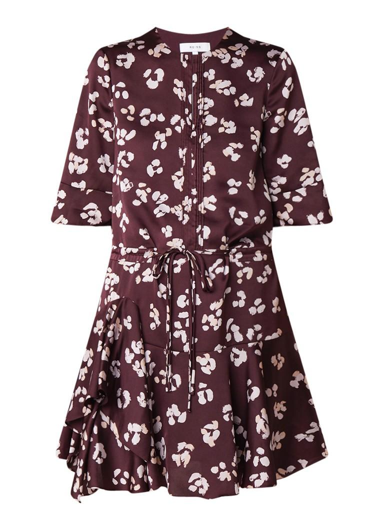 Reiss Orla A-lijn jurk van satijn met dessin aubergine