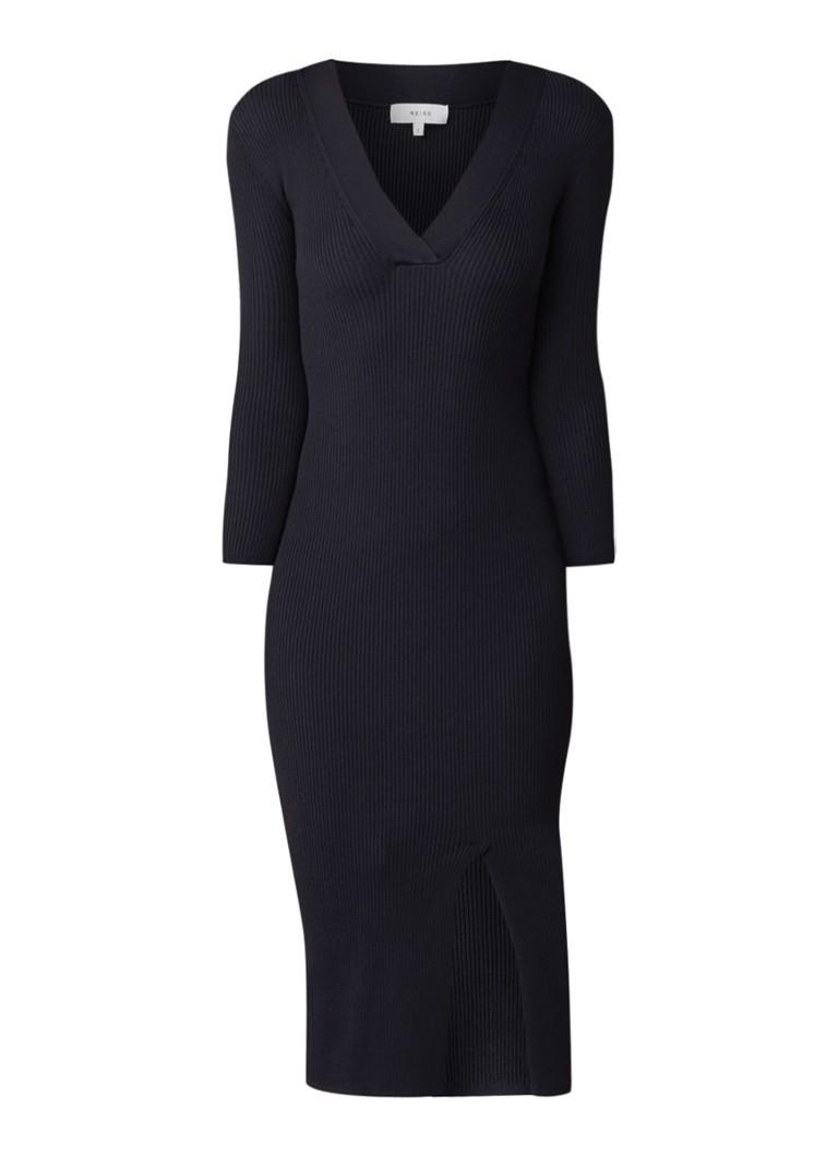 Reiss Aletti ribgebreide midi-jurk met driekwart mouw donkerblauw