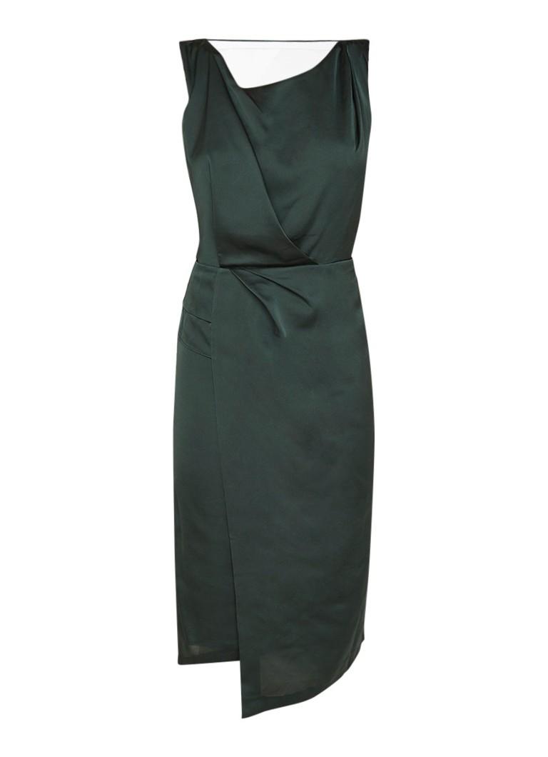 Reiss Karina midi-jurk van crêpe met open rug donkergroen