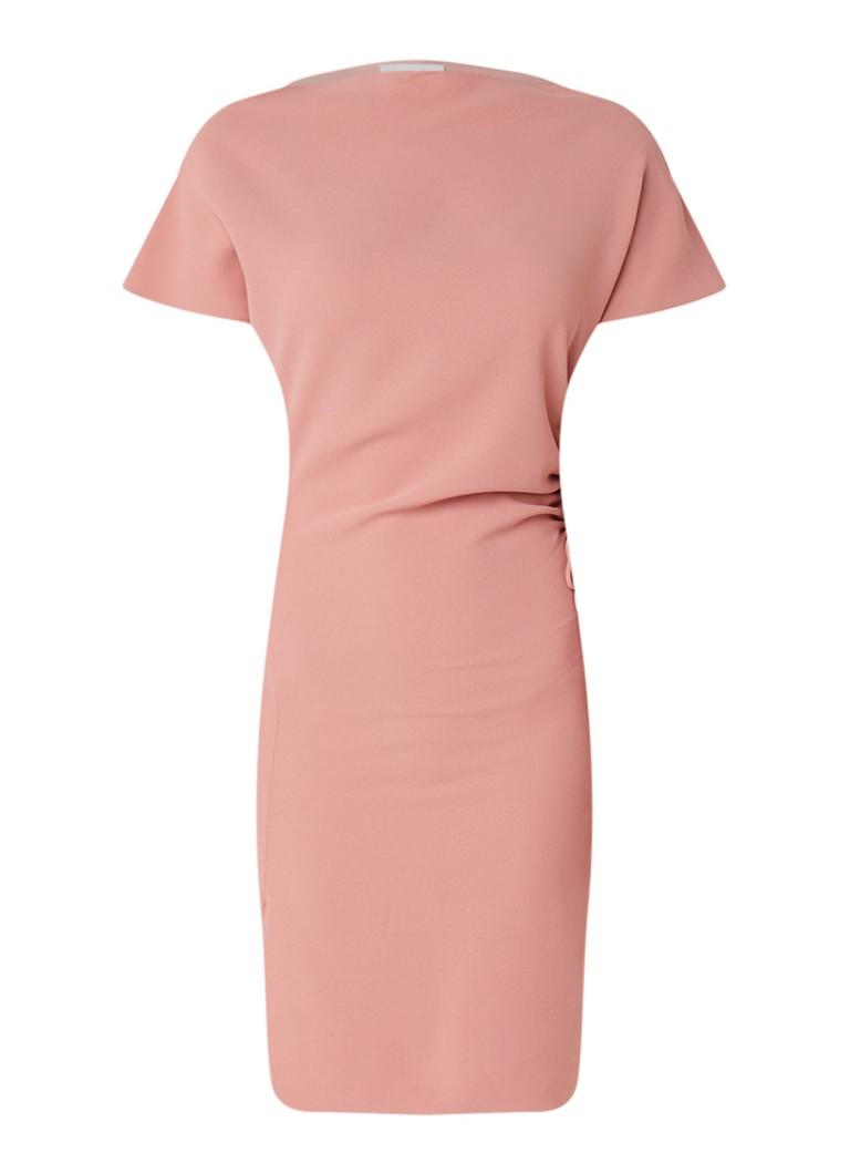 Reiss Marcia jurk van crêpe met tunnelkoord en plooidetails roze