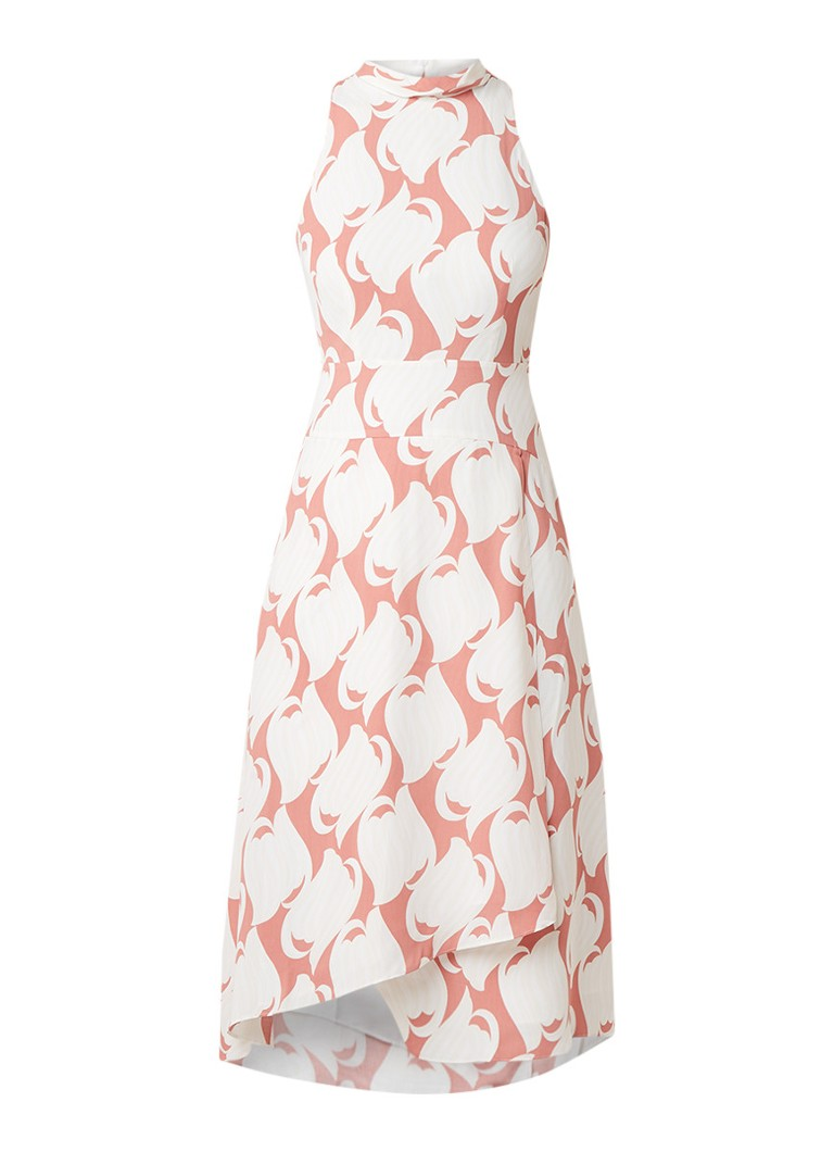 Reiss Doriana mouwloze A-lijn jurk met dessin en col lichtroze