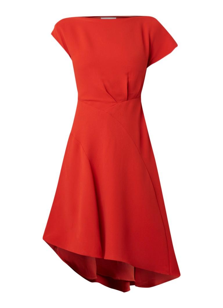 Reiss Victoria A-lijn jurk van crêpe met kapmouw rood
