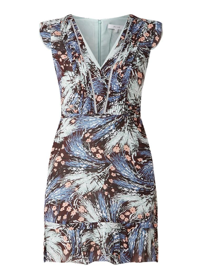 Reiss Bertie A-lijn jurk met bloemendessin blauw