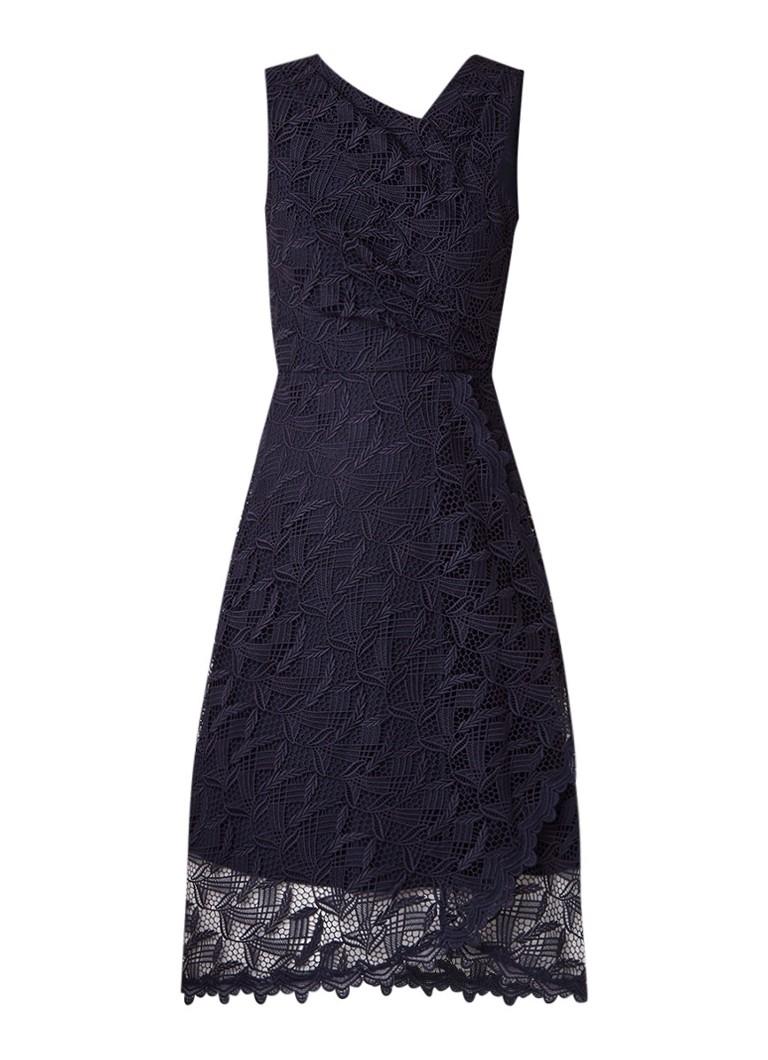 Reiss Rayna midi-jurk van kant met plooidetail donkerblauw