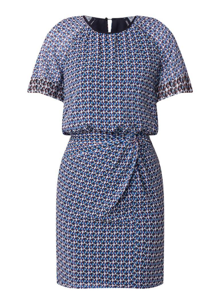 Reiss Heidi midi-jurk met dessin en geplooid detail blauw