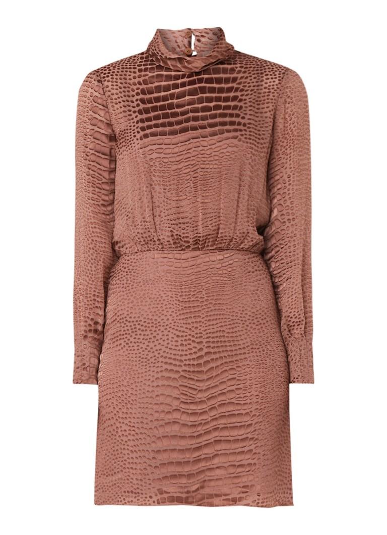 Reiss Emma mini-jurk in zijdeblend met croco print bruin