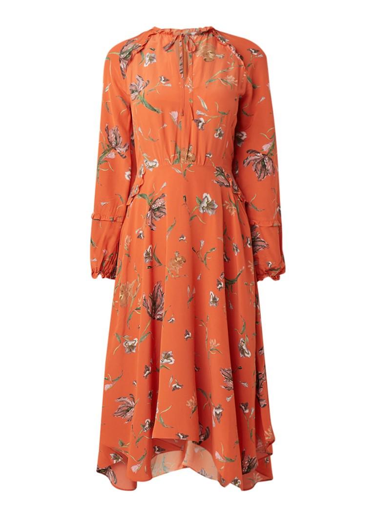 Reiss Bay maxi-jurk met bloemendessin oranje