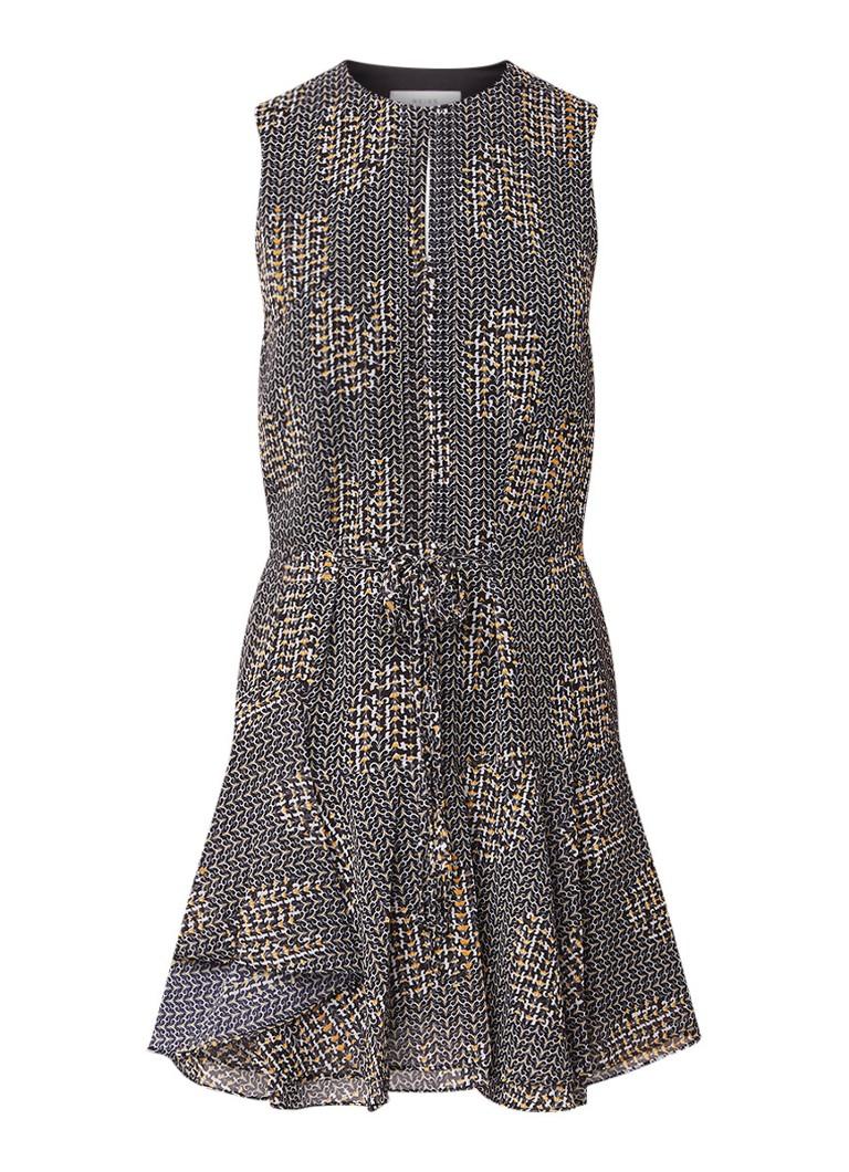 Reiss Stefania mouwloze jurk met dessin zwart