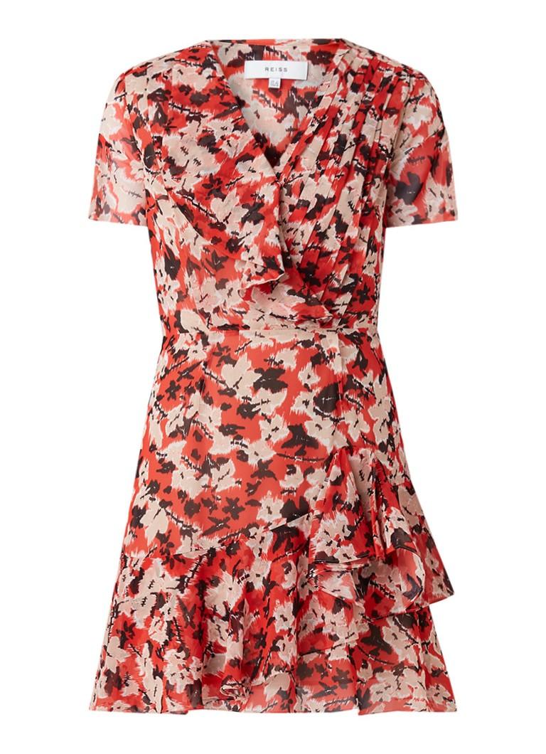 Reiss Marseille mini-jurk met bloemendessin en ruches rood