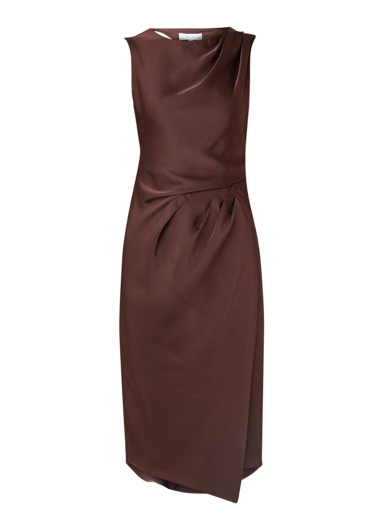 Reiss Julietta midi-jurk met rug decolleté donkerbruin