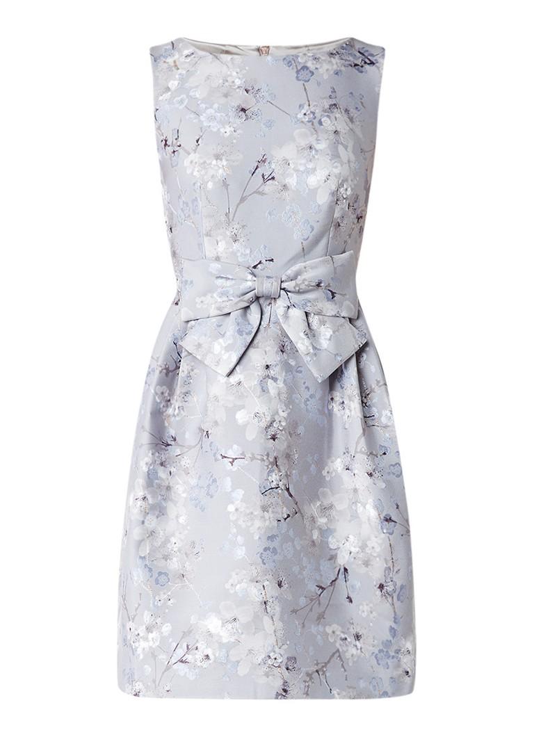 Ted Baker Quett mouwloze A-lijn jurk met gebloemd jacquarddessin lichtgrijs