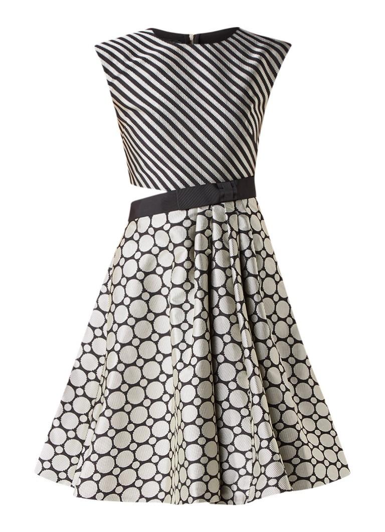 Ted Baker Reetah cut-out A-lijn jurk met dessin en structuur zwart