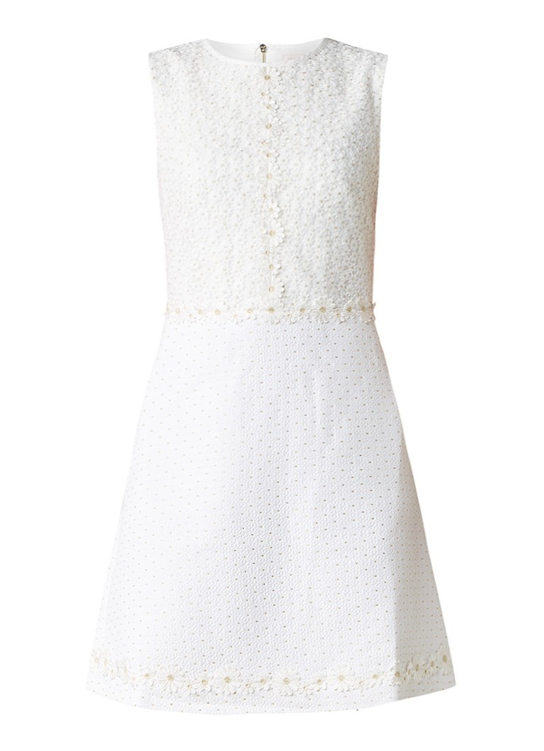 Ted Baker Olara A-lijn jurk met madeliefjes gebroken wit