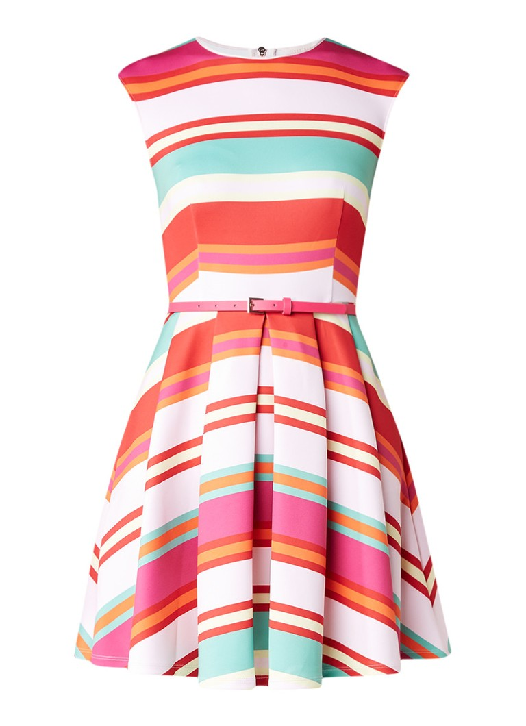 Ted Baker Mayya A-lijn jurk met streepdessin en ceintuur multicolor