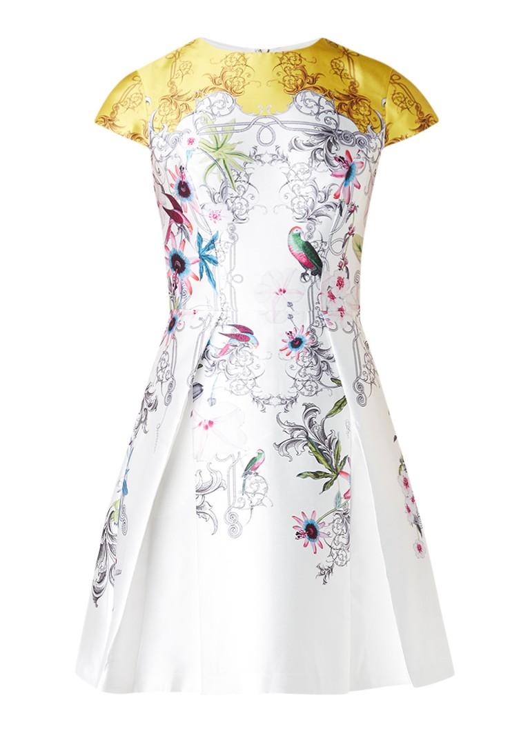 Ted Baker Reliat A-lijn jurk van satijn met dessin wit