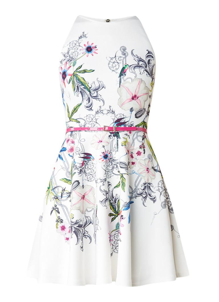 Ted Baker Samm A-lijn jurk met bloemendessin gebroken wit