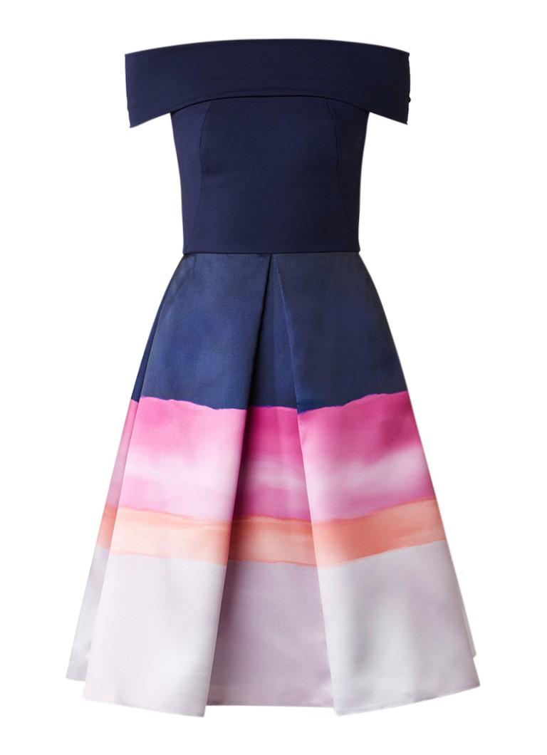 Ted Baker Hollii off shoulder A-lijn midi-jurk met kleurcontrast donkerblauw