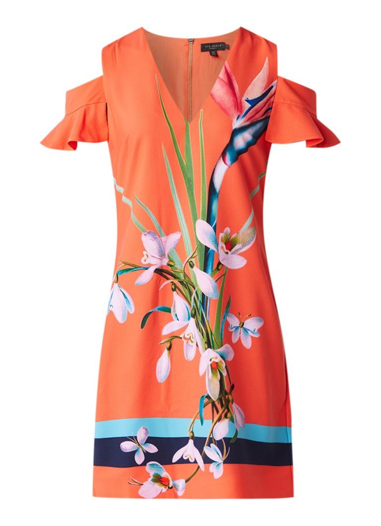 Ted Baker Leea cold shoulder jurk met bloemendessin koraalrood