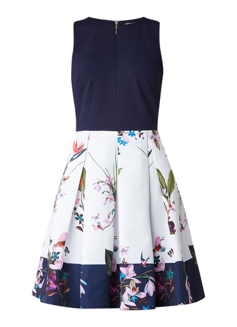 Ted Baker Petali A-lijn jurk met gebloemde rok donkerblauw
