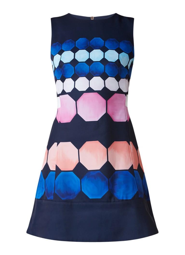 Ted Baker Seeliah A-lijn jurk met cut-out en dessin donkerblauw
