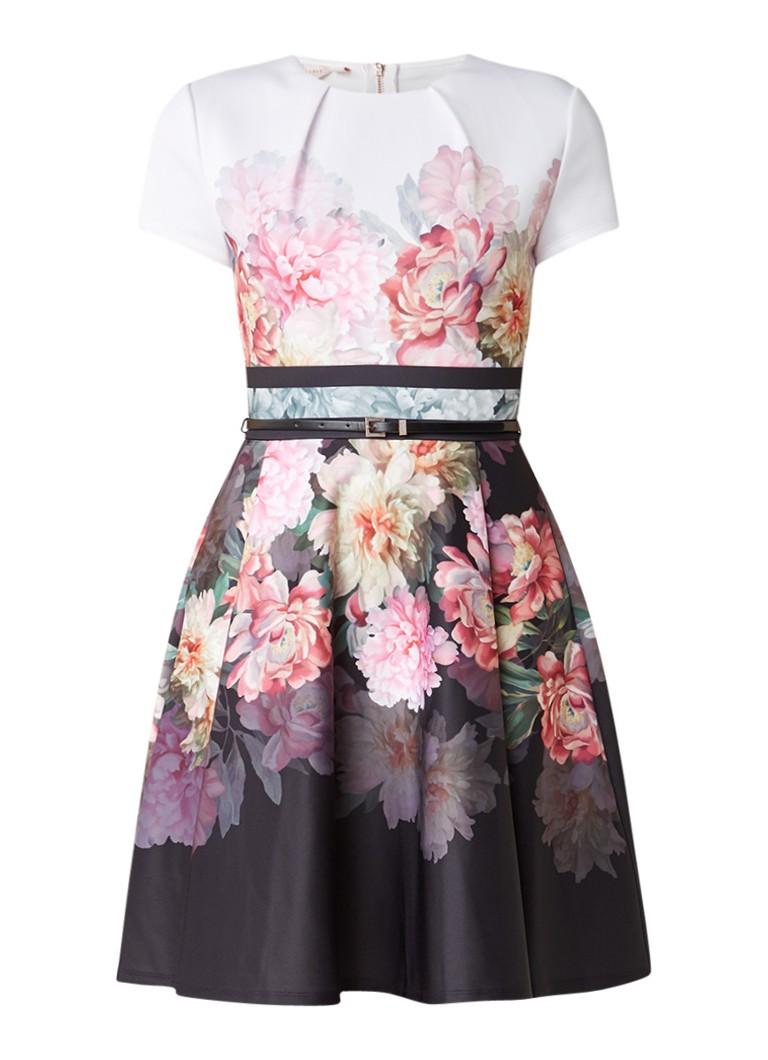 Ted Baker Valerey À-lijn jurk met bloemenprint en ceintuur lichtroze