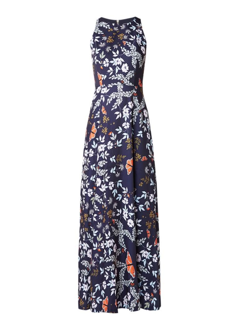 Ted Baker Kytot maxi jurk met geplisseerde inzet en bloemdessin donkerblauw