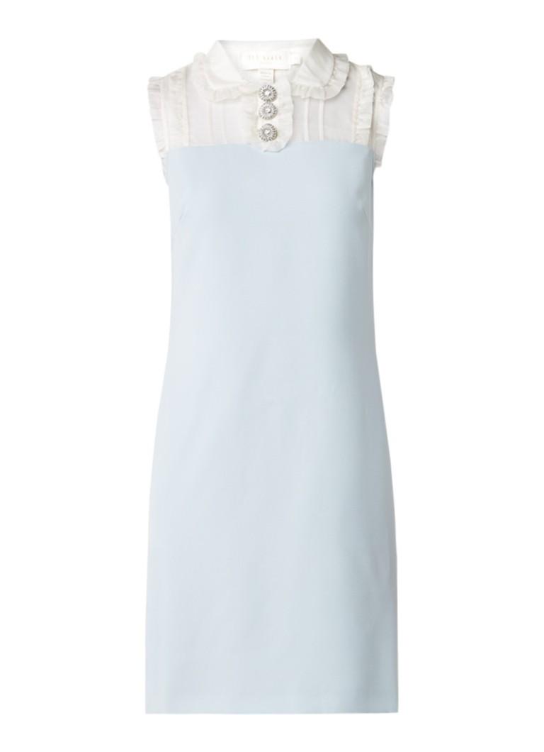 Ted Baker Kyilee midi-jurk met inzet van zijde met ruches lichtblauw