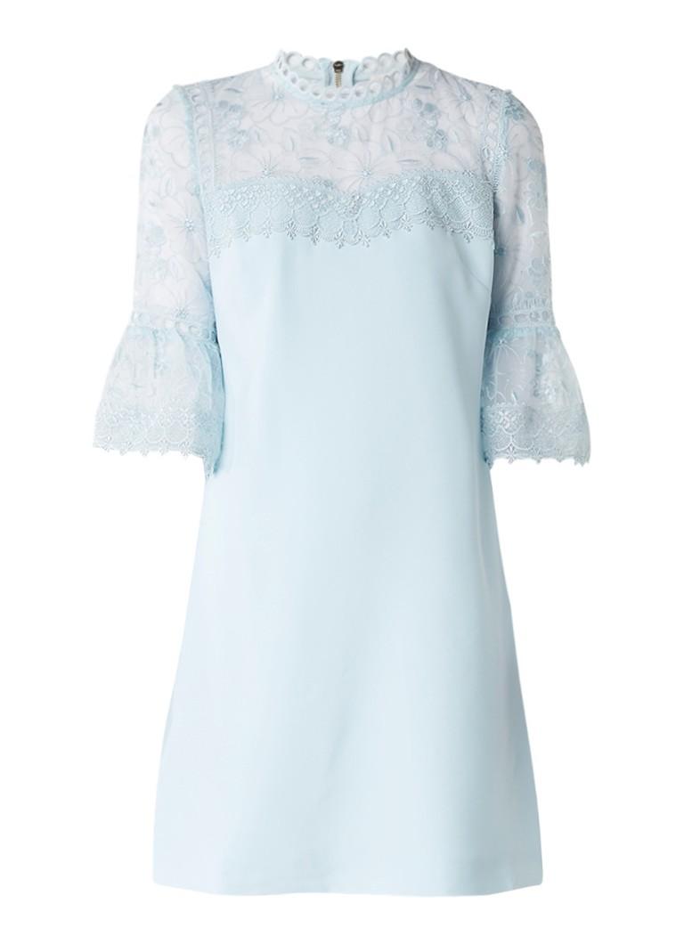 Ted Baker Raechal jurk met gebloemd kant en trompetmouw lichtblauw