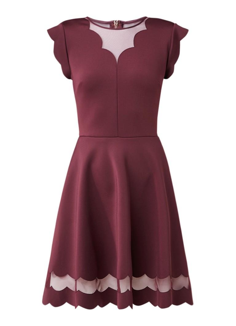 Ted Baker Sharlot A-lijn jurk met mesh en geschulpte afwerking aubergine