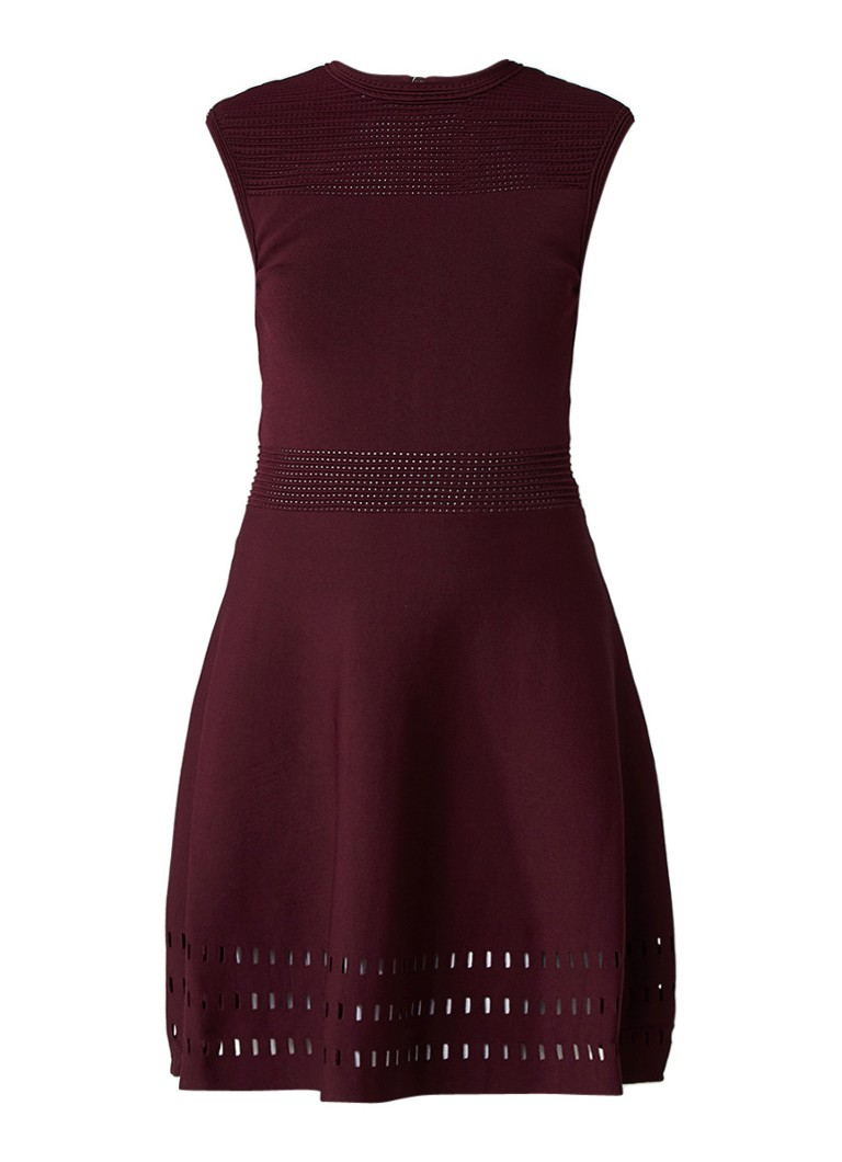 Ted Baker Aurbray ribgebreide jurk met cut-out details bordeauxrood
