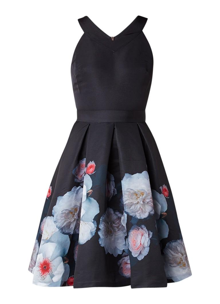 Ted Baker Chelsea A-lijn jurk met plooirok en bloemenprint zwart