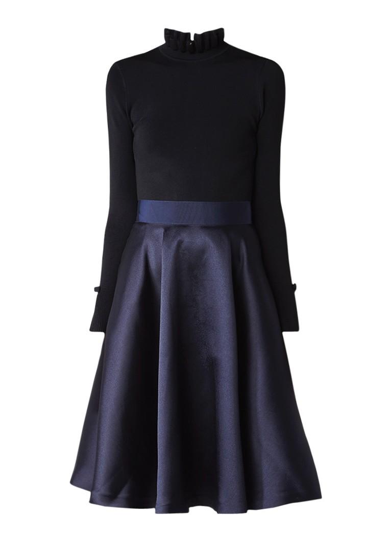 Ted Baker Zadi A-lijn jurk met col en rok van satijn blauw