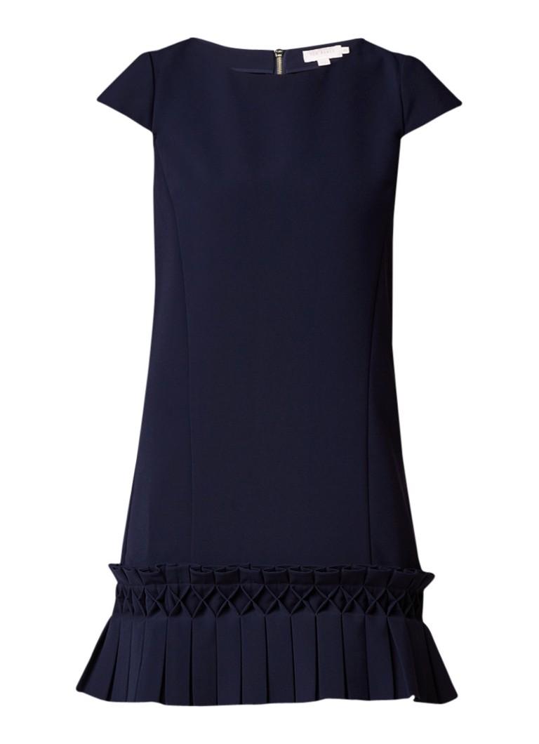 Ted Baker Abana jurk met plissézoom donkerblauw