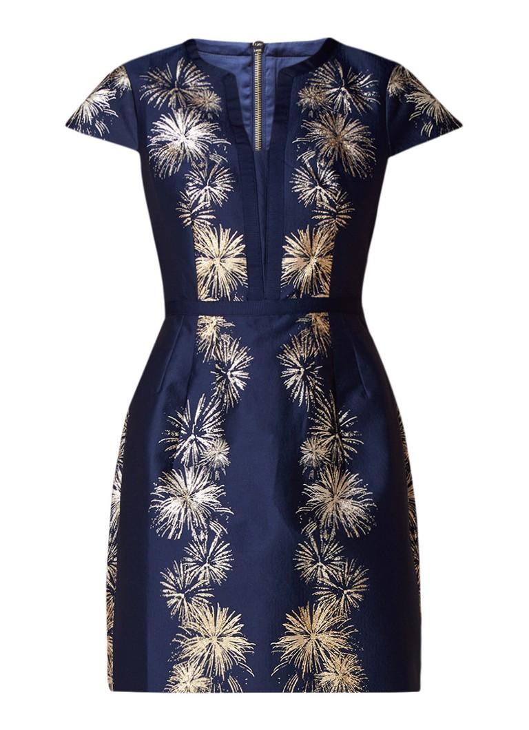 Ted Baker Tzalla jurk van satijn met metallic dessin donkerblauw