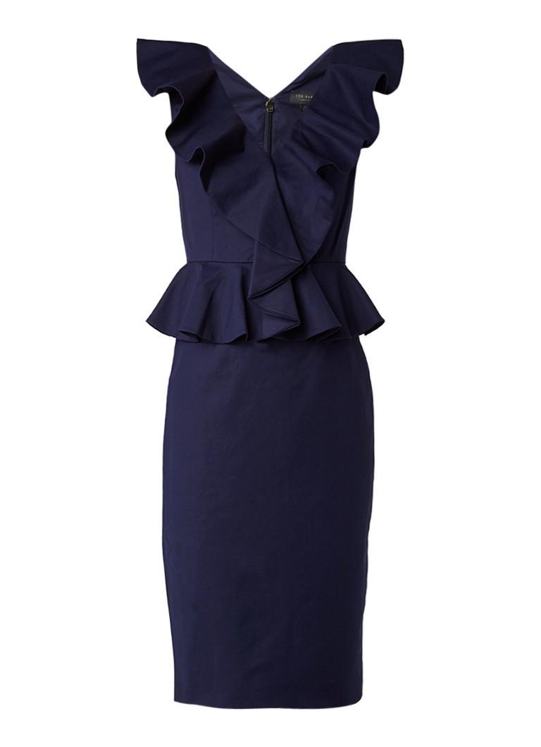 Ted Baker Igune midi-jurk met volant en peplum donkerblauw