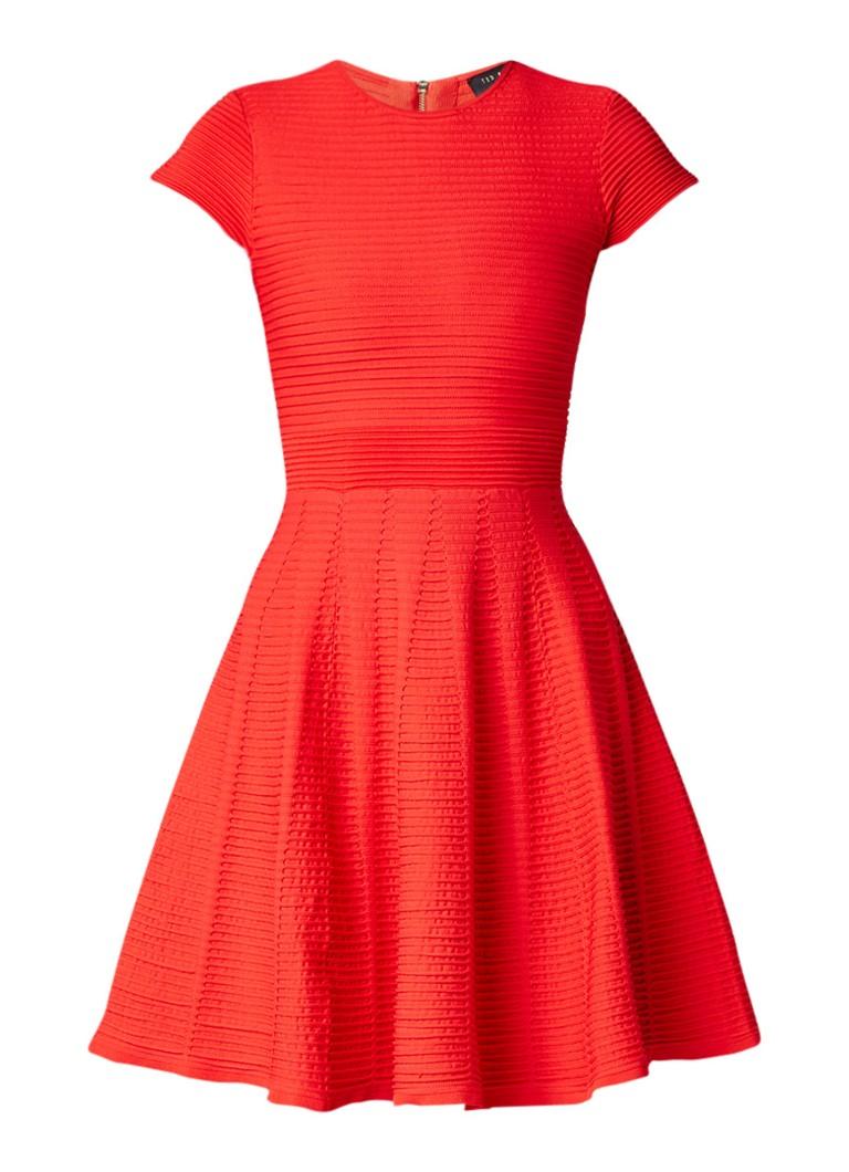 Ted Baker Lynndia A-lijn jurk van jersey met ribstructuur rood